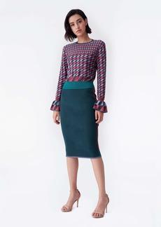 Diane Von Furstenberg Joyce Knit Pencil Skirt in Hunter Green