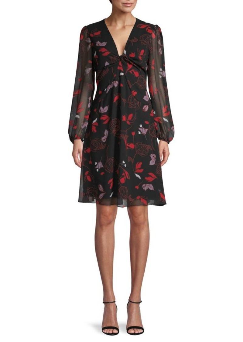 Diane Von Furstenberg Kala Chiffon Long-Sleeve Flare Dress