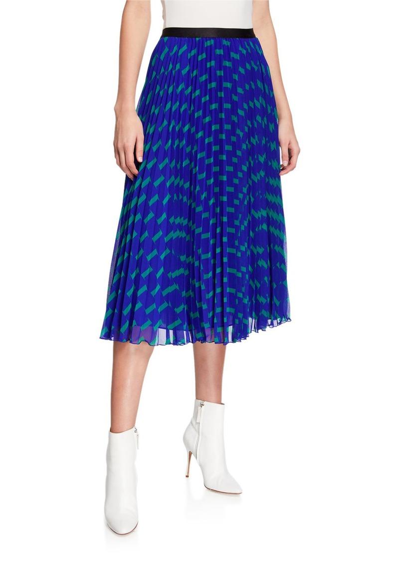 Diane Von Furstenberg Kalina Pleated Geo-Print Chiffon Skirt