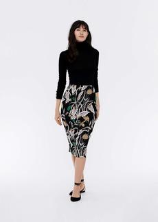 Diane Von Furstenberg Kara Silk-Cady Pencil Skirt in Batik Floral Black