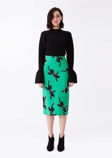 Diane Von Furstenberg Kara Silk-Cady Pencil Skirt in Climbing Panther Green