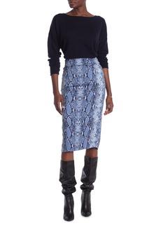 Diane Von Furstenberg Kara Snake Print Pencil Skirt