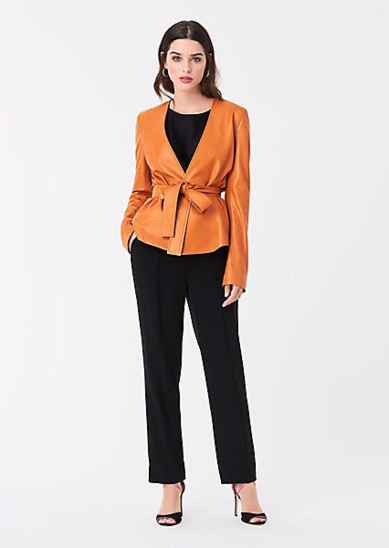 Diane Von Furstenberg Kate Leather Belted Jacket