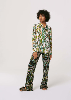 Diane Von Furstenberg Kate Silk Crepe De Chine Shirt in Modern Chain Ivory