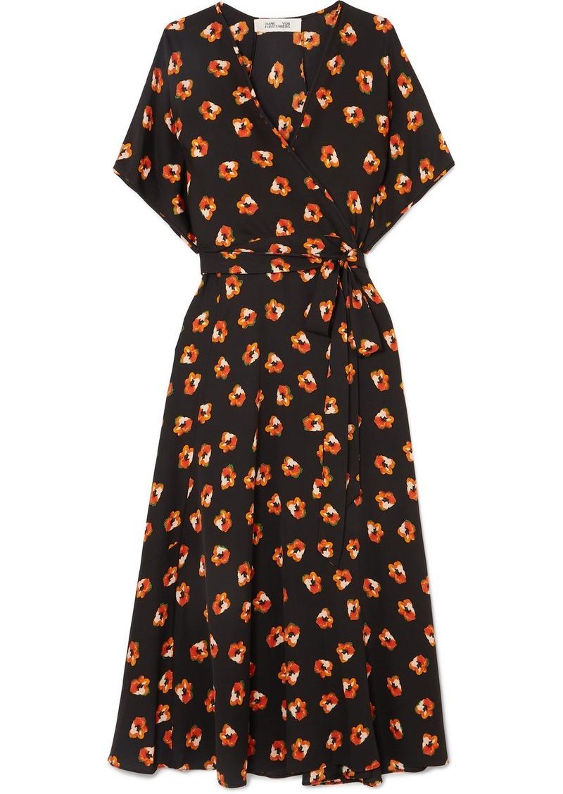 Diane Von Furstenberg Kelsey Floral-print Silk-blend Crepe De Chine Wrap Dress