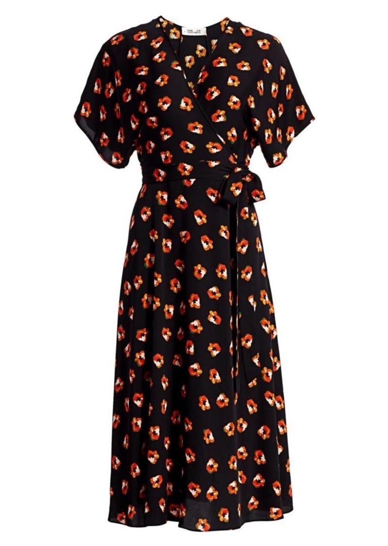 Diane Von Furstenberg Kelsey Floral Stretch Silk Wrap Dress