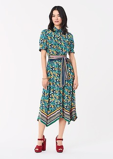 Diane Von Furstenberg Kendyl Silk Crepe de Chine Belted Midi Wrap Dress