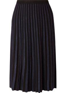 Diane Von Furstenberg Klara Pleated Metallic Stretch-knit Midi Skirt
