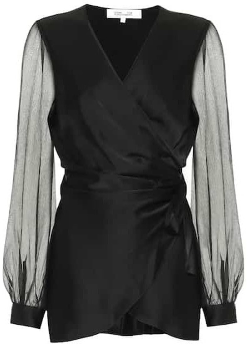 Diane Von Furstenberg Klee satin and chiffon wrap top