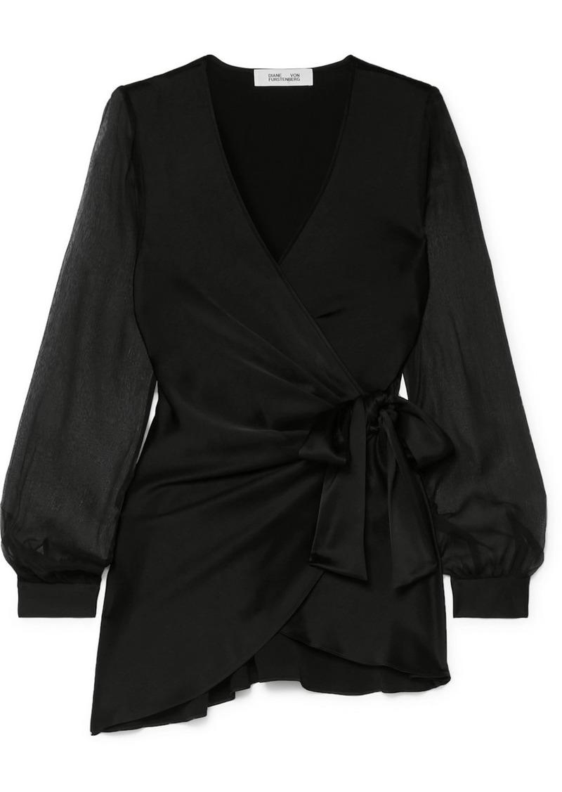 Diane Von Furstenberg Klee Satin And Silk-chiffon Wrap Blouse
