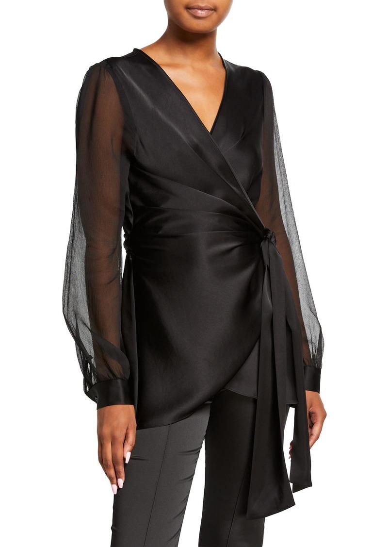 Diane Von Furstenberg Klee Sheer-Sleeve Wrap Blouse