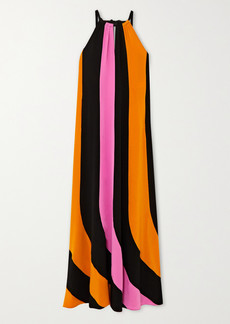 Diane Von Furstenberg Kristine Striped Silk-crepe Halterneck Maxi Dress