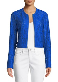 Lace Zip-Front Crop Jacket