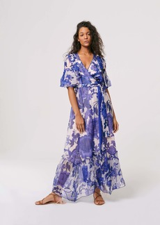 Diane Von Furstenberg Lailie Chiffon-Organza Wrap Gown in Willow Patterns