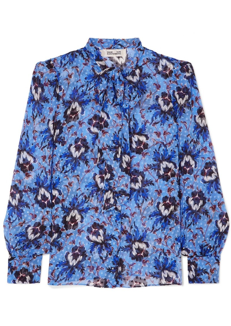 Diane Von Furstenberg Lanie Pussy-bow Floral-print Flocked Silk-blend Chiffon Blouse