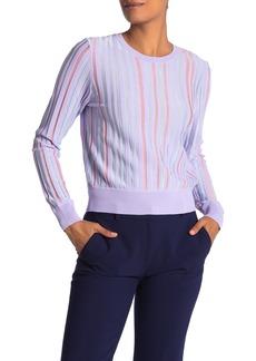 Diane Von Furstenberg Laren Metallic Stripe Crew Neck Sweater