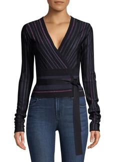 Diane Von Furstenberg Laren Metallic Stripe Wrap Sweater