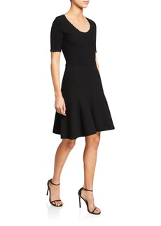 Diane Von Furstenberg Lark Scoop-Neck Short-Sleeve Scallop Dress