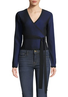 Diane Von Furstenberg Laura Cropped Long-Sleeve Wrap Top