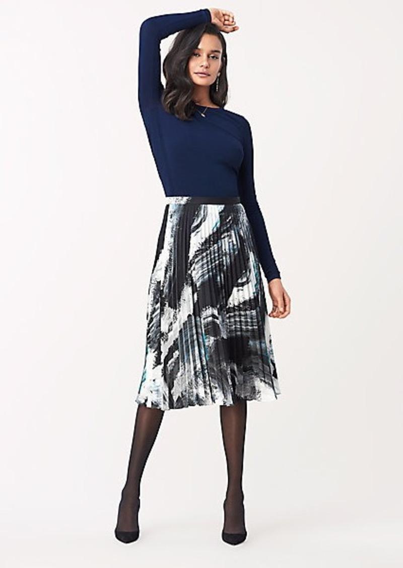 Diane Von Furstenberg Lay Pleated Georgette-Blend Midi Skirt