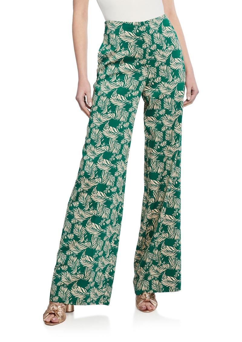 Diane Von Furstenberg Leaf Pattern Wide-Leg Pants