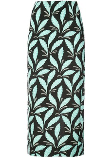 Diane Von Furstenberg leaf print fitted skirt