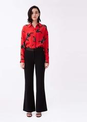 Diane Von Furstenberg Leanna Silk Crepe De Chine Shirt in Climbing Panther Red