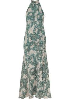 Diane Von Furstenberg Leeann Floral-print Fil Coupé Silk-blend Chiffon Halterneck Maxi Dress