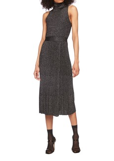 Diane Von Furstenberg Lennon Turtleneck Sleeveless Metallic Wool Midi Dress