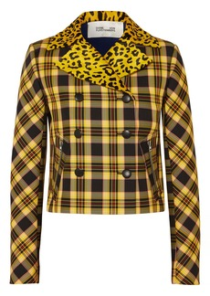 Diane Von Furstenberg Leopard-print Calf Hair And Checked Twill Jacket