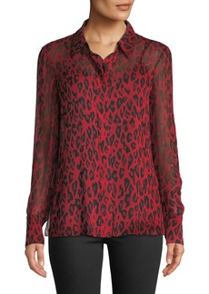 Diane Von Furstenberg Leopard-Print Silk Chiffon Button-Front Blouse