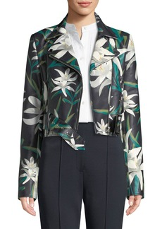 Diane Von Furstenberg Lily Print Zip-Front Cropped Leather Moto Jacket