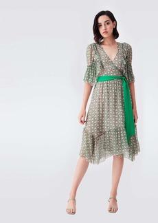 Diane Von Furstenberg Liz Chiffon-Blend Wrap Dress in Fun Club Green