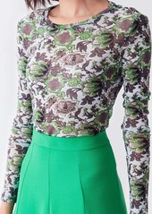 Diane Von Furstenberg Logan Mesh Crewneck in Willow Flower Green