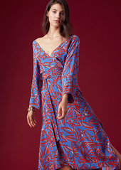 Diane Von Furstenberg Long Sleeve Asymmetric Hem Dress