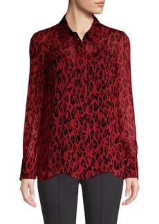 Diane Von Furstenberg Long Sleeve Chiffon Crinkle Blouse