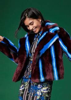 Diane Von Furstenberg Long Sleeve Collared Faux Fur Jacket