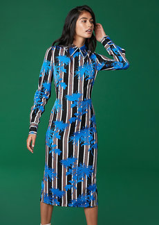 Diane Von Furstenberg Long Sleeve Collared Fitted Dress