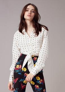 Diane Von Furstenberg Long Sleeve Collared Front Tie Shirt