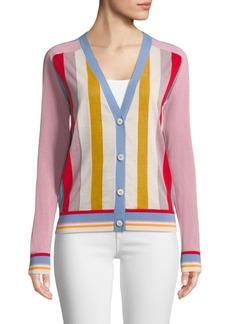 Diane Von Furstenberg Long Sleeve Color Block Cardigan