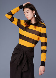 Diane Von Furstenberg Long-Sleeve Color Block Cotton Pull Over