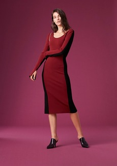 Long-Sleeve Fitted Knit Dress
