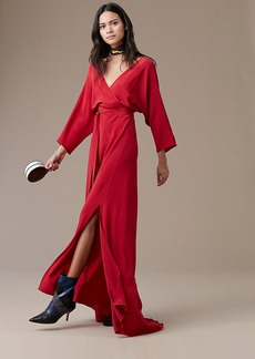 Long-Sleeve Floor-Length Wrap Dress