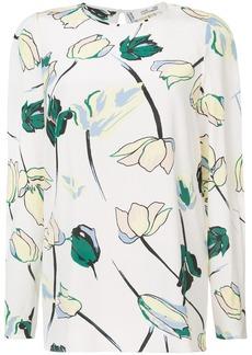 Diane Von Furstenberg long sleeve floral blouse