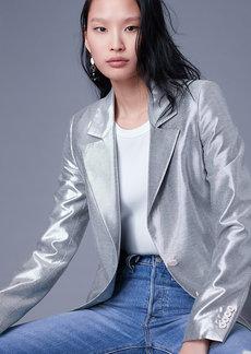Diane Von Furstenberg Long Sleeve Metallic Blazer