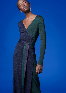 Long-Sleeve Metallic Knit Wrap Dress