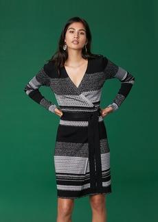 Diane Von Furstenberg Long Sleeve Metallic Wrap Dress