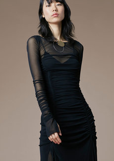 Long-Sleeve Overlay Mesh Dress