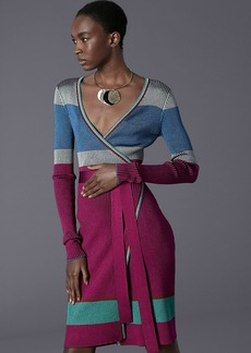 Diane Von Furstenberg Long-Sleeve Ribbed Plaited Wrap Dress
