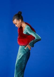 Diane Von Furstenberg Long-Sleeve Scoop Neck Velvet Gown